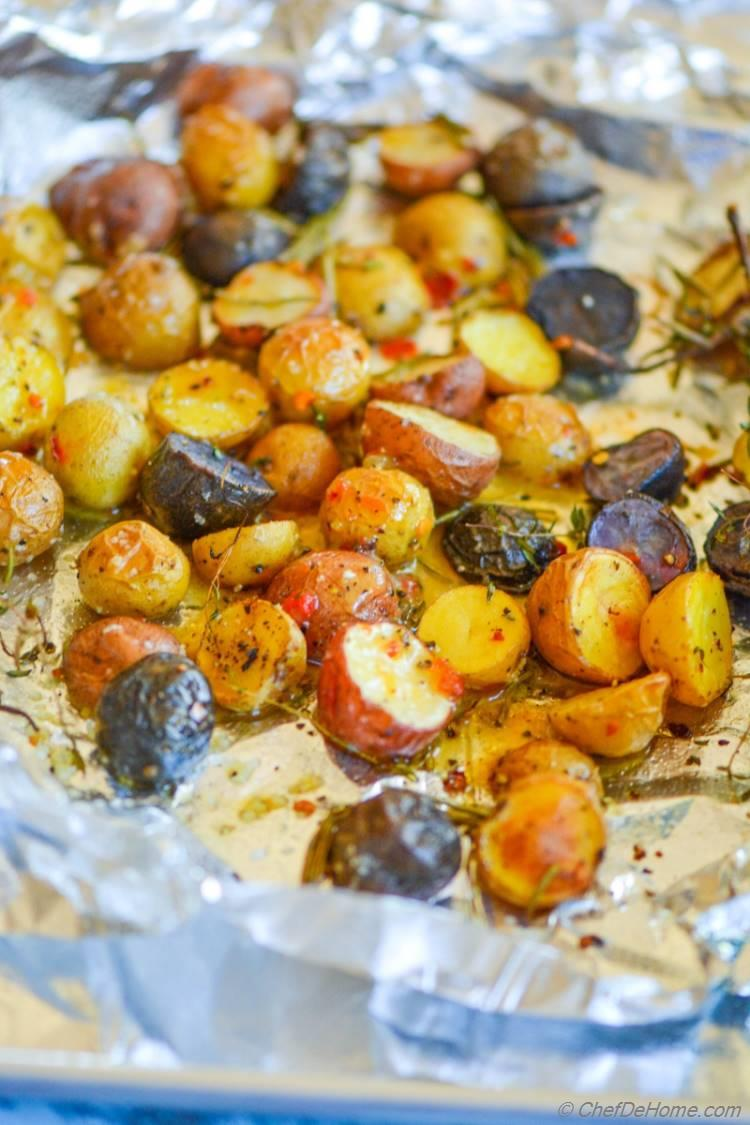 Herb Roasted Baby Potatoes with Sweet and Spicy Mustard Dressing! A sweet, spicy, and satisfying side with holiday roasted meat dinners!