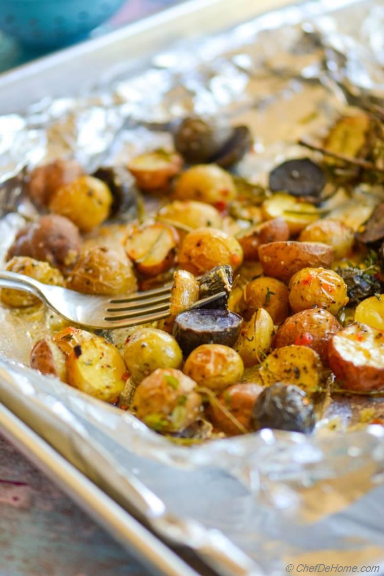 Herb Roasted Baby Potatoes with Sweet and Spicy Mustard Dressing! An easy, gluten free, and vegan side!
