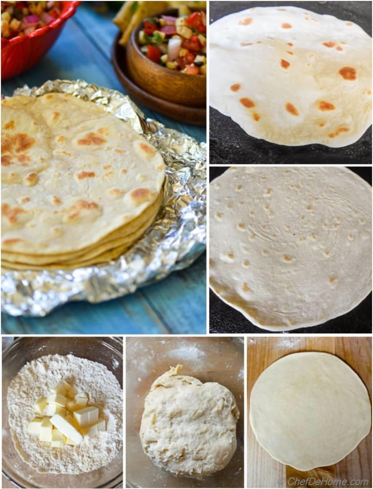 Step by step guide to make easy Homemade Flour Tortillas