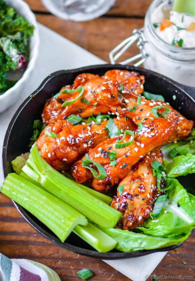 Crackling Crispy Baked Kimchi-Honey Caramelized Chicken Wings | chefdehome.com
