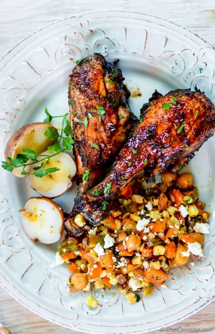 Chipotle BBQ Chicken Drumsticks for Dinner with Sweet and Sour Corn Succotash | chefdehome.com