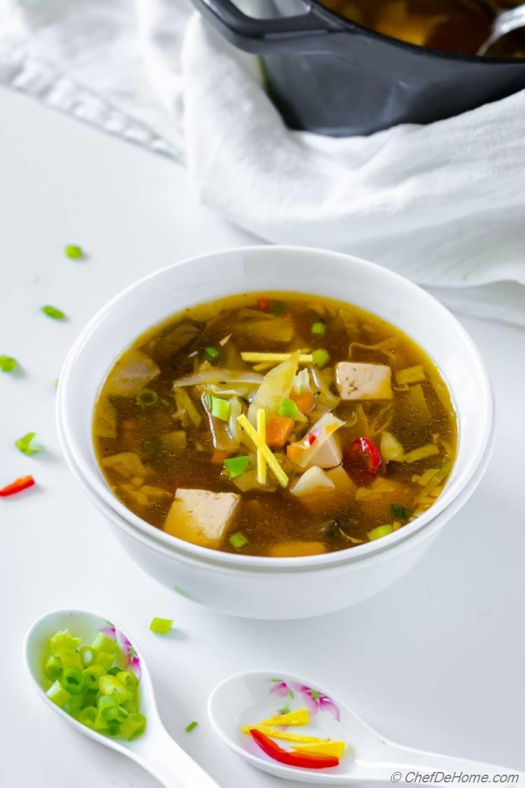 Delicious Ladle full of Vegetarian Hot and Sour Soup