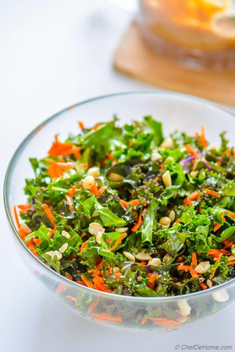 Kale and Carrots Salad Chili Lime Peanut Dressing | chefdehome.com