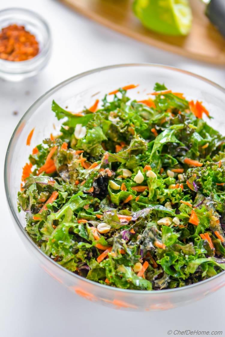 Healthy Vegan Kale and Carrot Slaw Pack for Lunch or Carry in Potluck | chefdehome.com