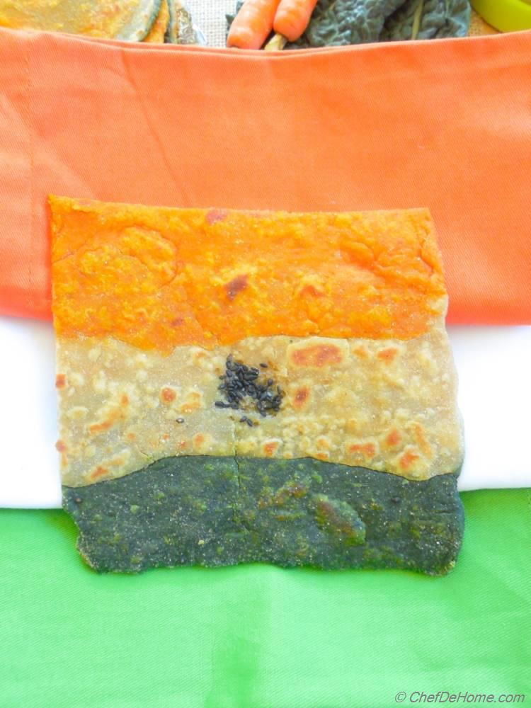 TriColor Indian Independence Day Kale and Carrot Flat Bread