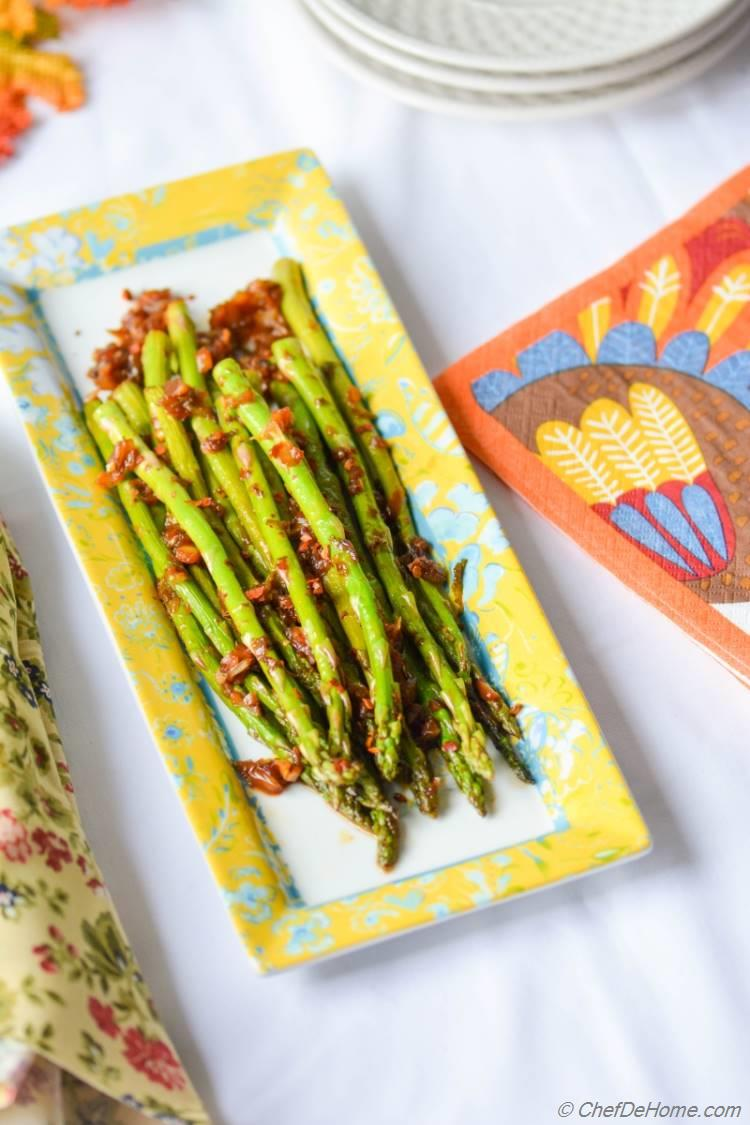 Vegan Kimchi Garlic Asparagus, vegan gluten-free zesty dinner side