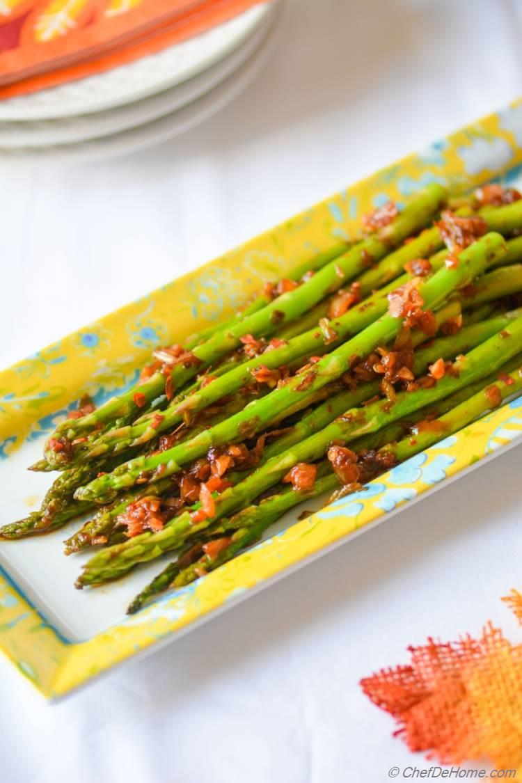 Vegan Kimchi Garlic Asparagus, zesty dinner side for your next family-dinner.
