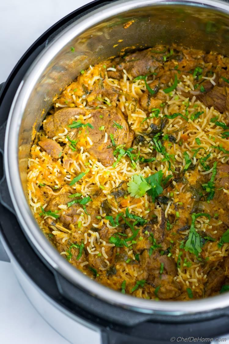 Lamb Curry with rice cooked in Instant Pot