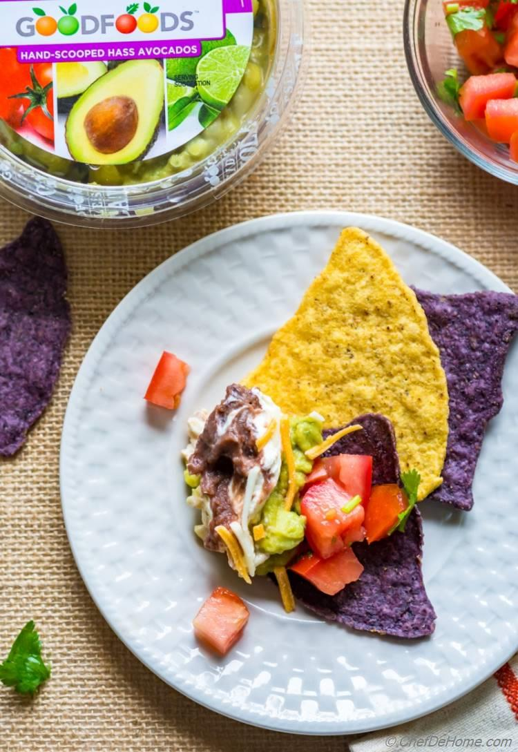 7 Layer Mexican Dip with Chips | chefdehome.com