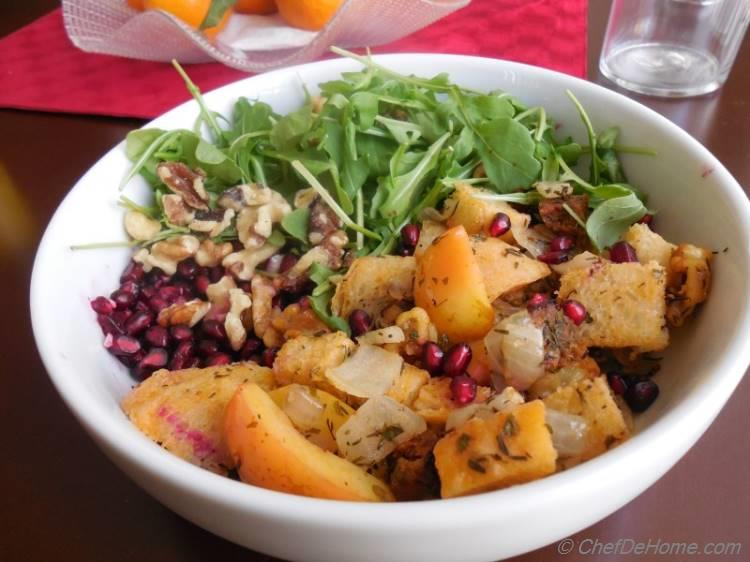 Leftover stuffing and crab apples salad | chefdehome.com