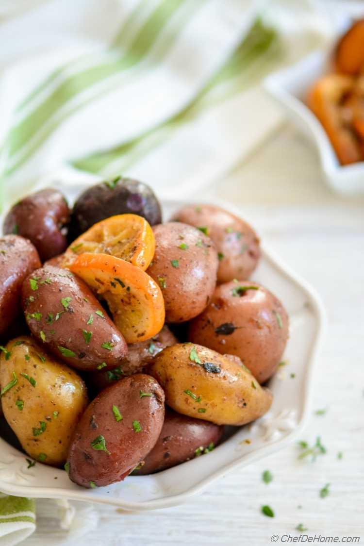 Easy Baked Greek Lemon Potatoes and Preserved Lemons all cooked in one Slow Cooker | chefdehome.com