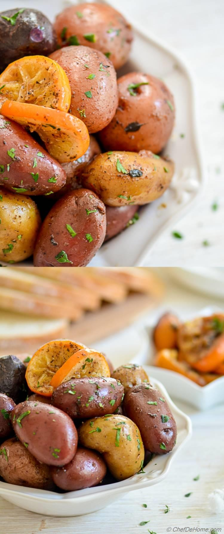 Easy Green Lemon Potatoes in Slow Cooker Can be Veganby just skipping butter | chefdehome.com