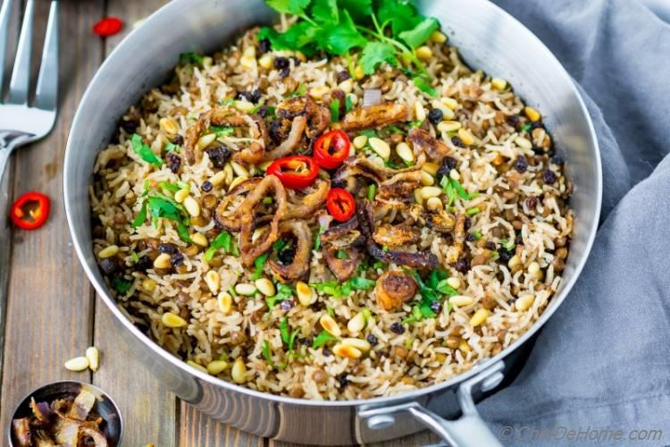 Lebanese Lentils And Rice with Yogurt and Onions