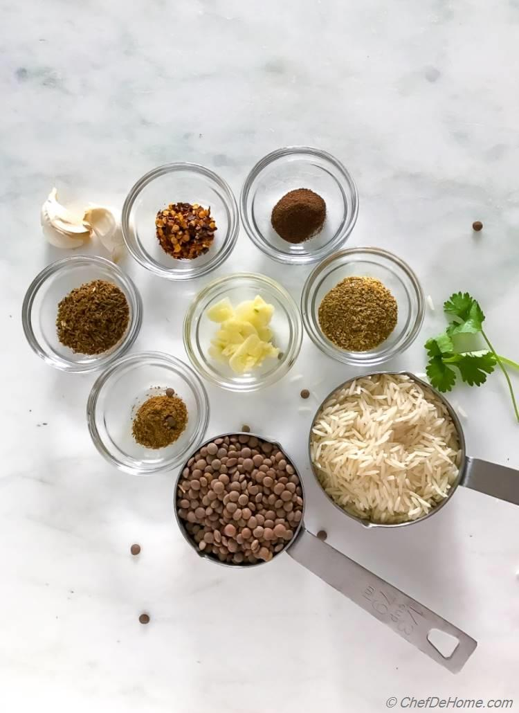 Ingredients for Mujadara - Arabic Lentils and Rice Recipe