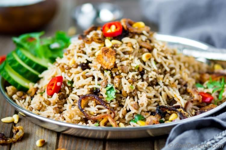 Traditional Middle Eastern Mujadara Lentils and Rice