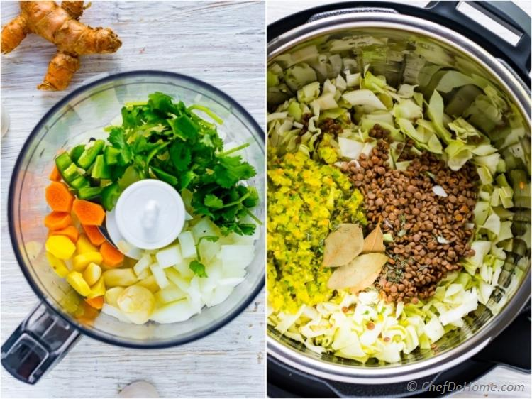 Lentil soup ingredients in instant pot | chefdehome.com