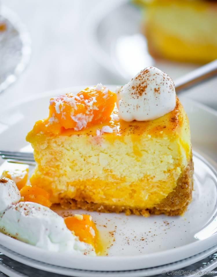 moist and rich easy mango cheesecake with fresh mangoes and ..