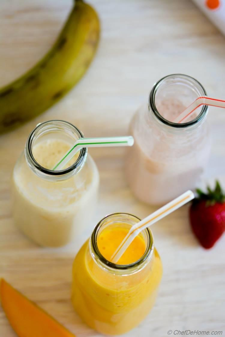 Almond Milk Shake - 3 Ways - Mango Strawberry Banana - chefdehome.com