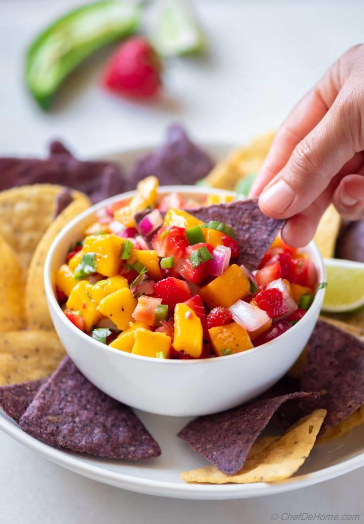 Bowl of Mango Salsa with Chips