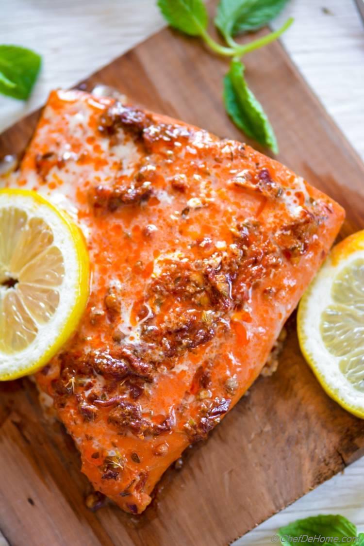Cedar Plank Smoked Chipotle Maple Glaze Salmon | chefdehome.com