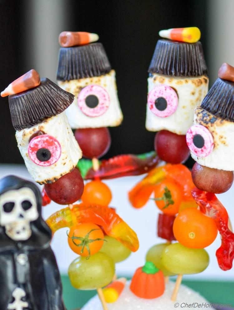 Marshmallow Candy Kabobs with Ghost Skeleton!