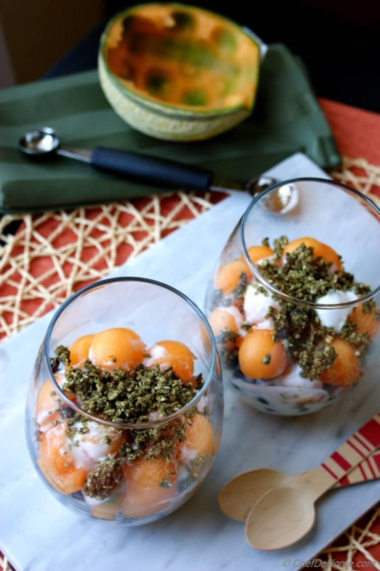 Melon and Yogurt Parfait with Hemp