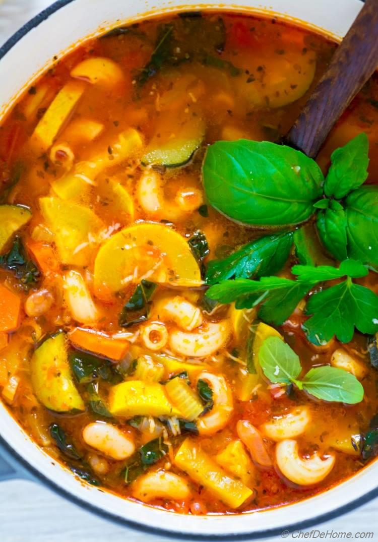 Vegetables Loaded Easy Minestrone Soup