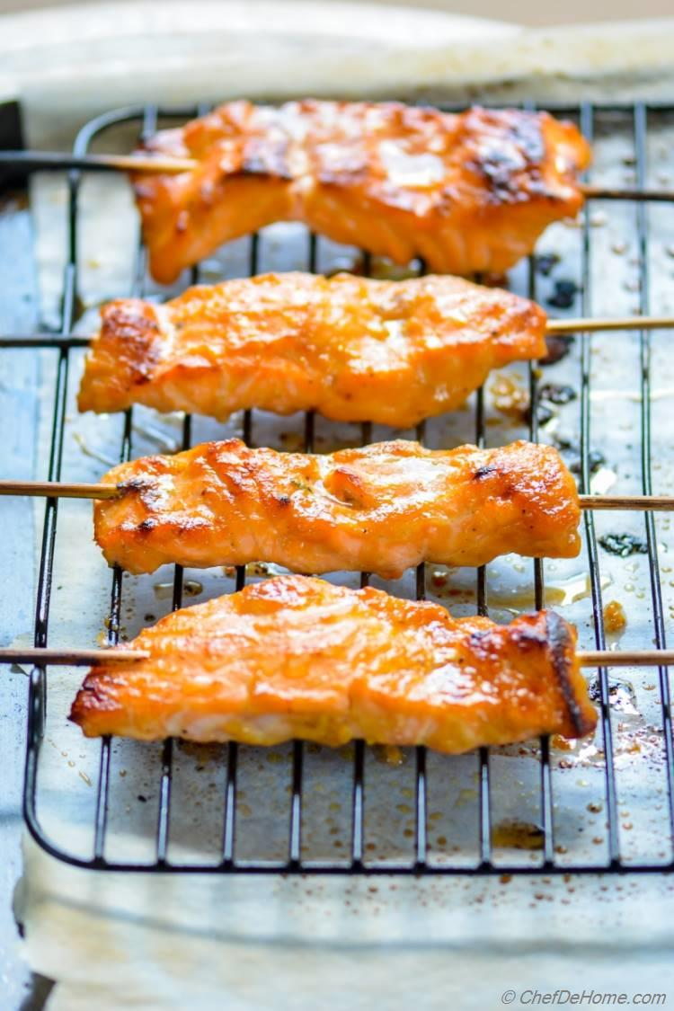 Miso Ginger Broiled Salmon Ready in 5 minutes and perfect for healthy weekday dinner   chefdehome.com