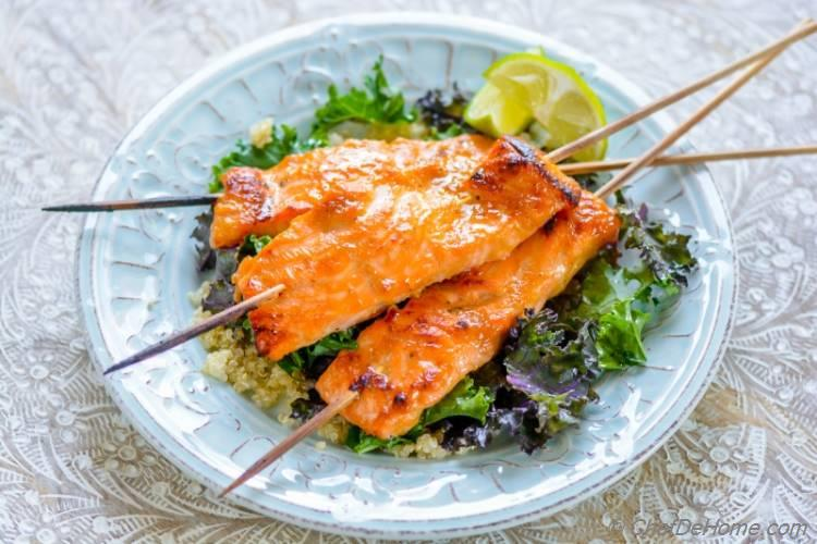 Healthy Miso Ginger Broiled Salmon with Kale and Quinoa | chefdehome.com