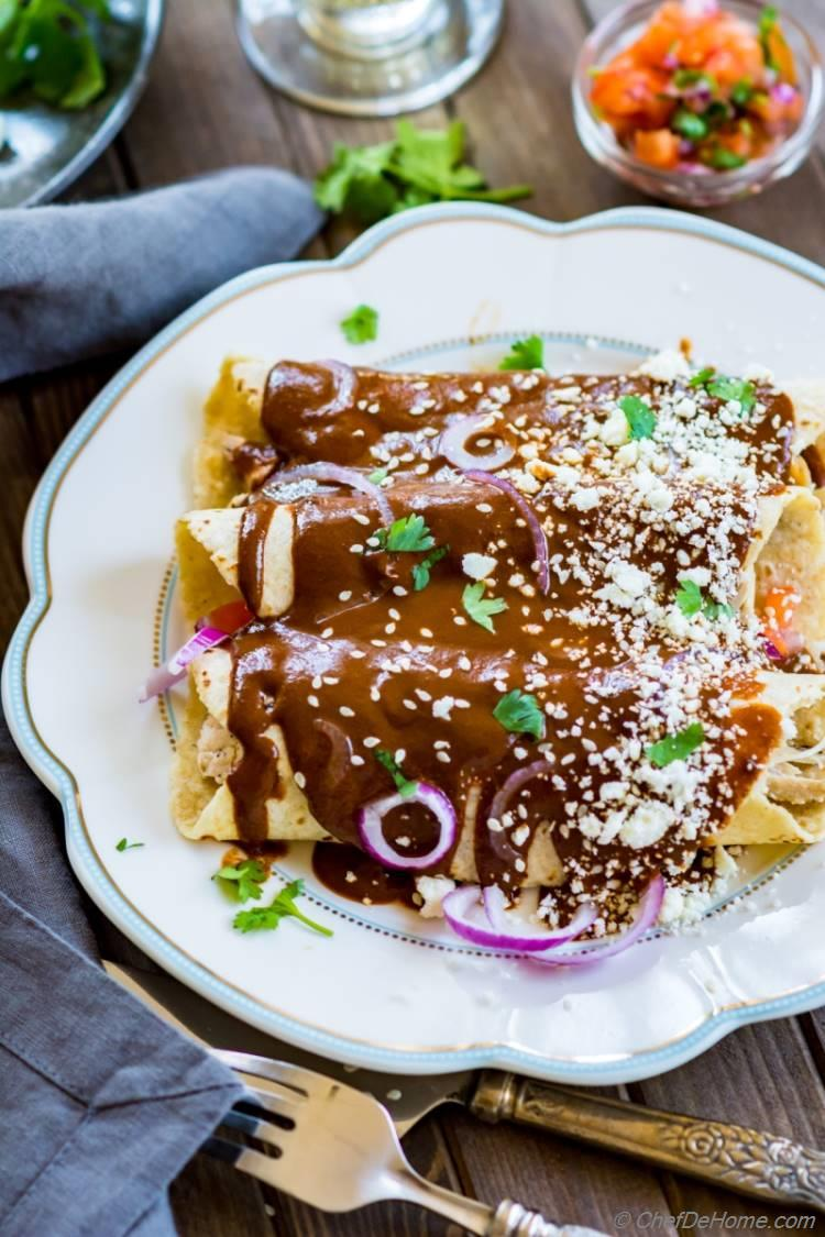 Chicken Enchilada with homemade Mole Sauce ready from scratch in just 30 minutes | chefdehome.com