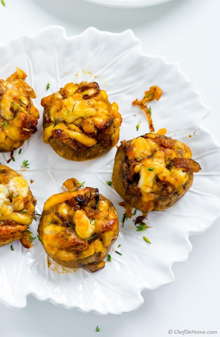 Stuffed Mushrooms Vegetarian with Cheese and Sweet Onions