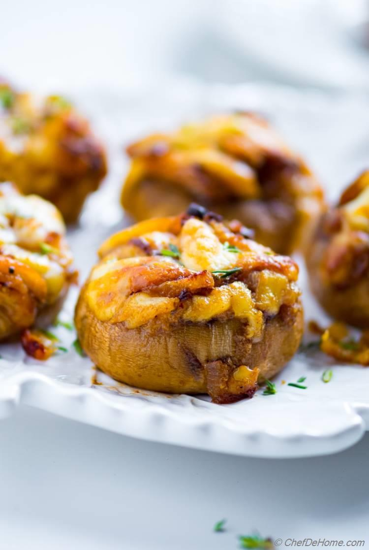 Cheese Stuffed Mushrooms with Caramelized Onions