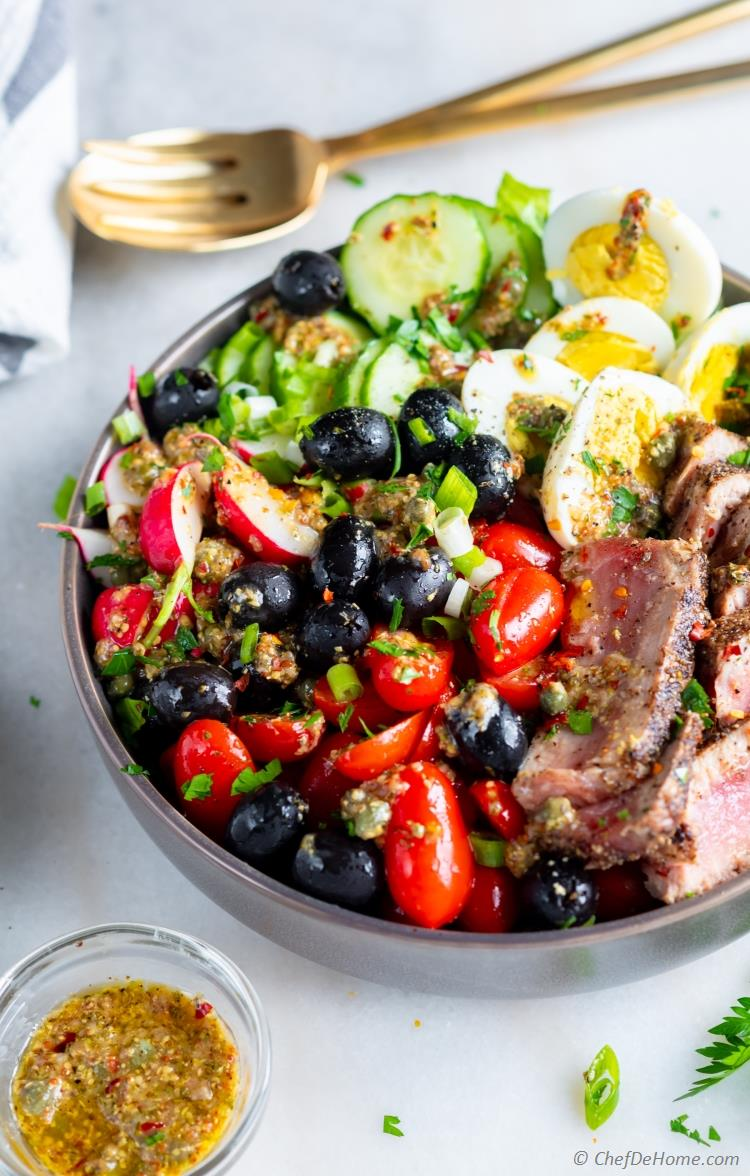 Salad Nicoise with Tuna and Boiled Eggs