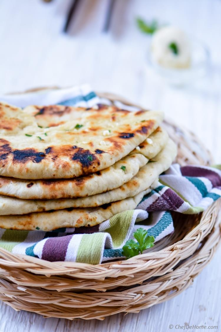 No Yeast Quick and Easy Homemade Indian Garlic Butter Naan | chefdehome.com