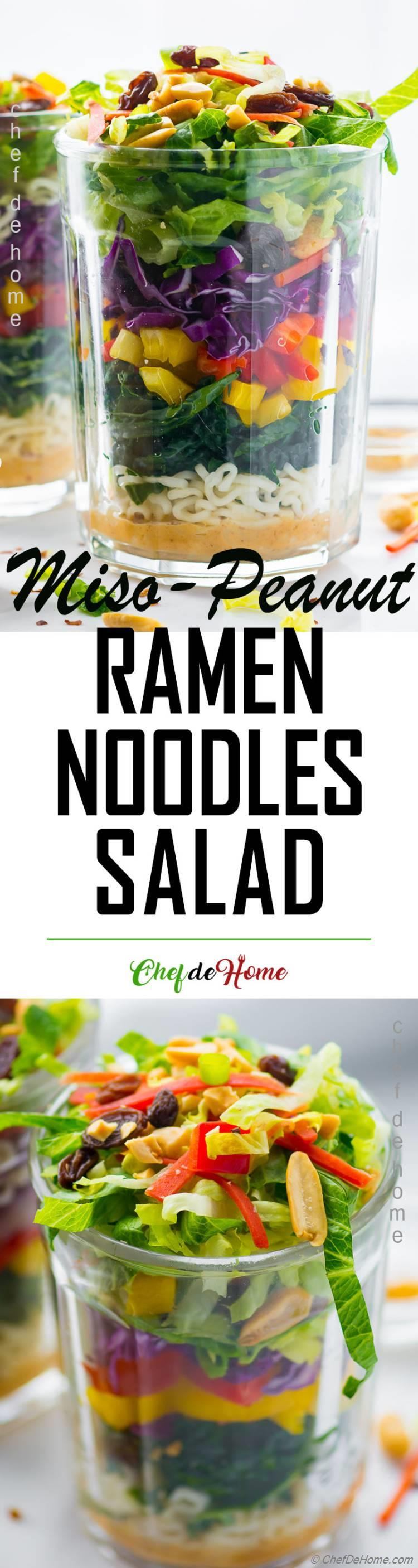 Miso Peanut Asian Noodles Salad in a Jar for Summer Picnic