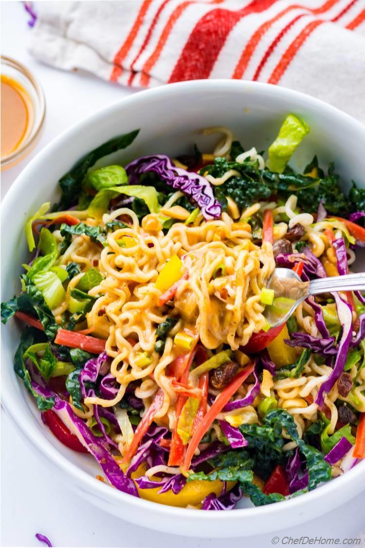 Ramen Noodle Salad with Creamy Peanut Miso Dressing