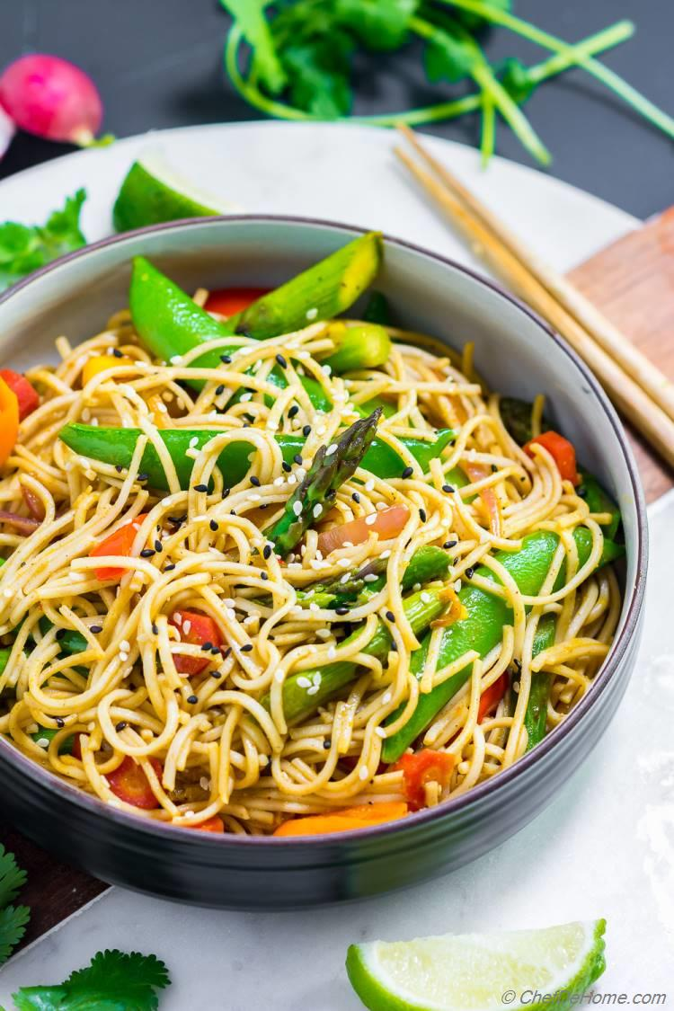 Spicy Soba Noodles Bowl with Snow Pea Asparagus and