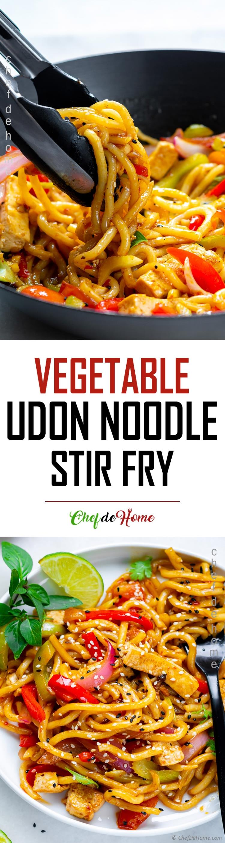 Udon Noodle Stir Fry with Tofu Veggies and Oyster Sauce Stir Fry Sauce