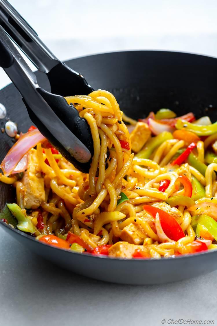 Udon Noodles Stir Fried in Wok