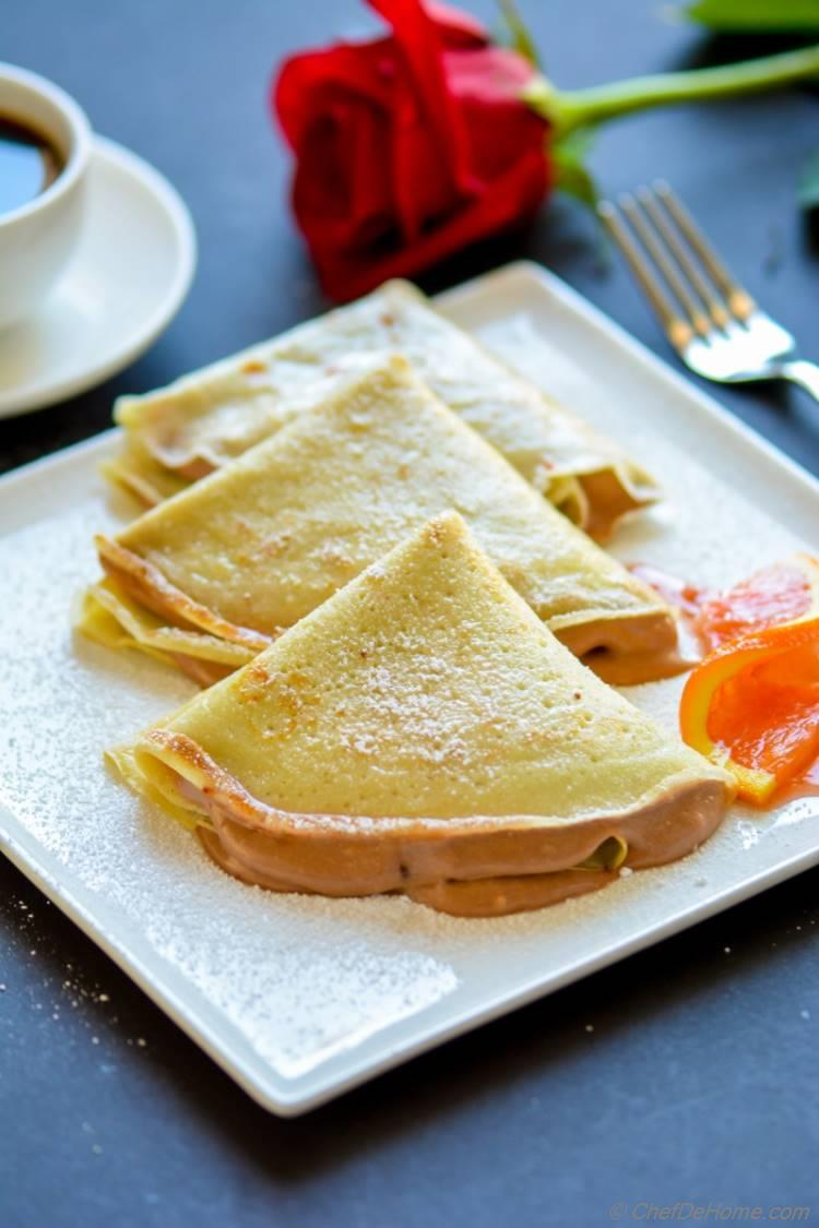 Nutella Mousse Crepes for Breakfast for a family Breakfast at home | chefdehome.com