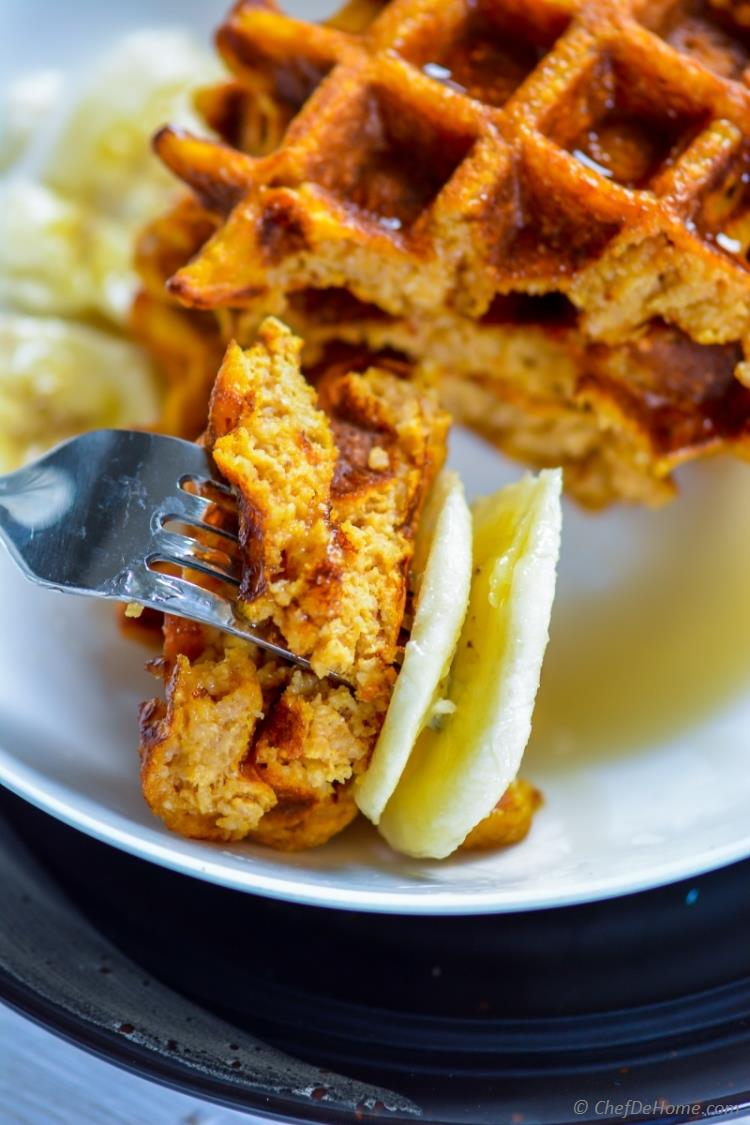 Dairy Free Sweet Potato and Oats Waffles for whole grain morning breakfast | chefdehome.com