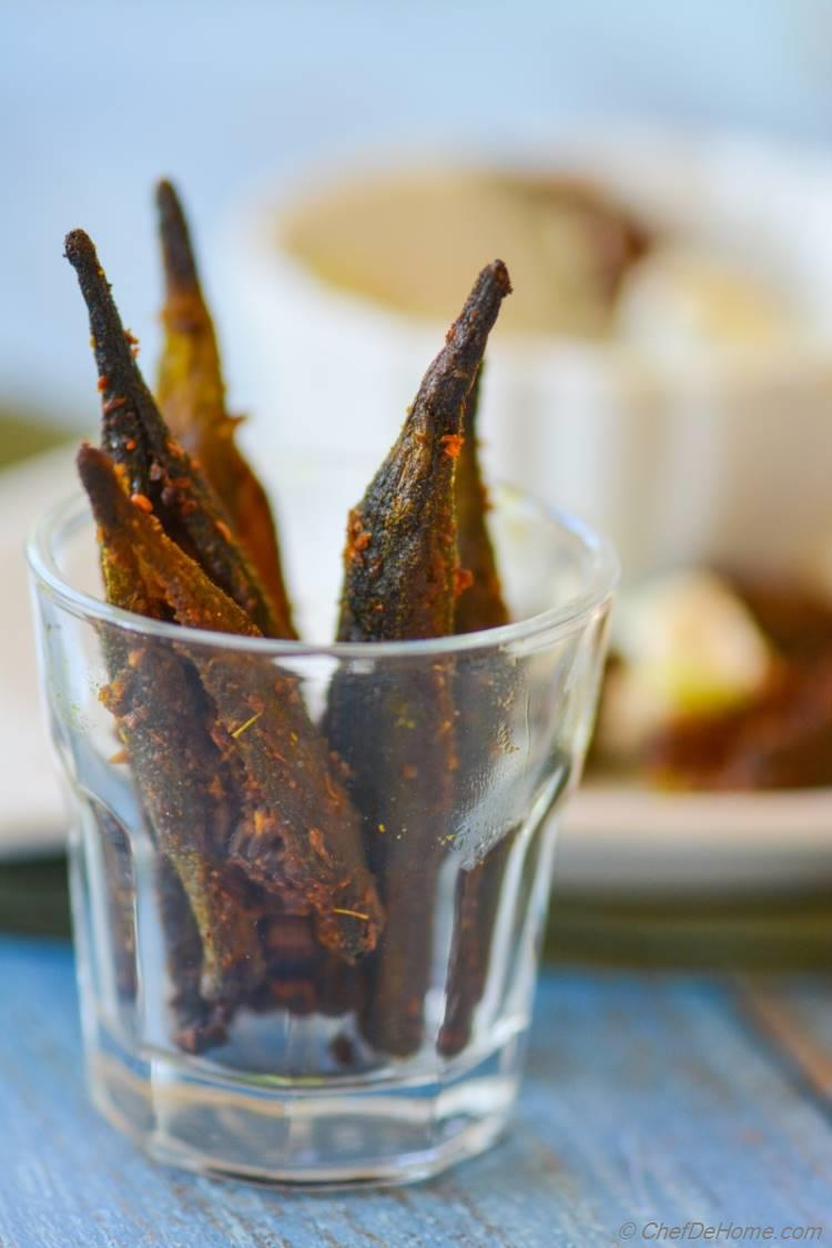 Creole Seasoned Baked Okra Fries with Lime-Cilantro Dip