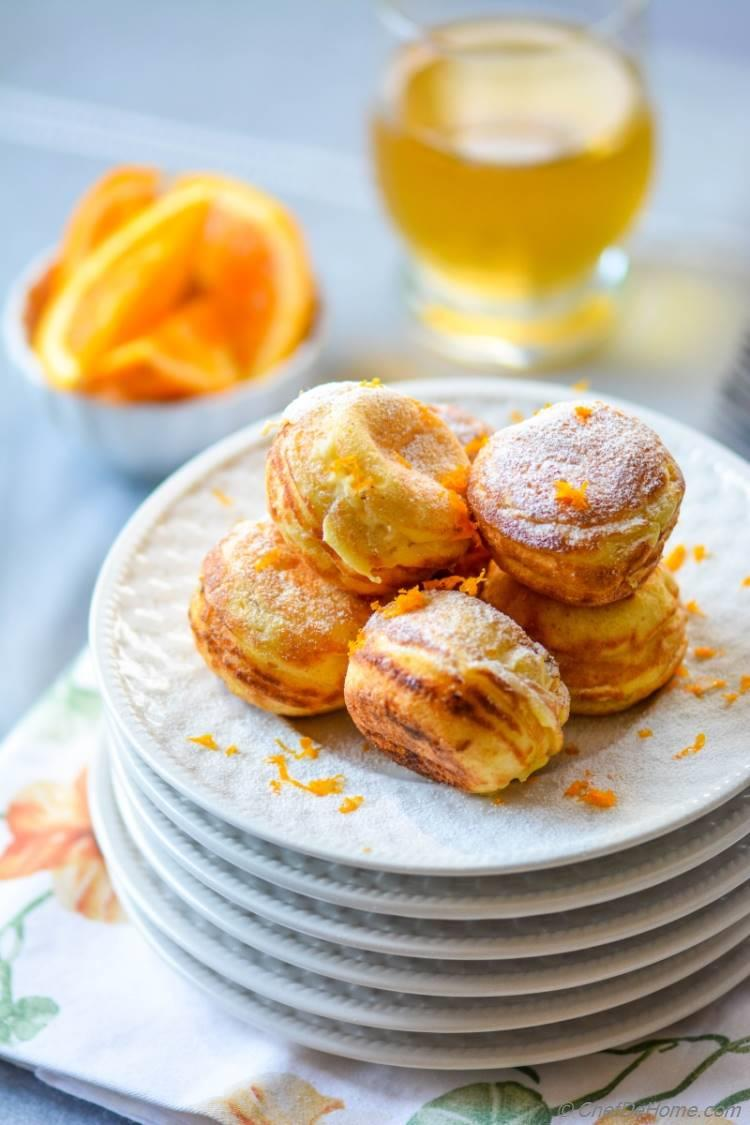 Scrumptious Orange-Cream Filled Ebelskivers. Great for Breakfast or Sweet Treats after dinner!