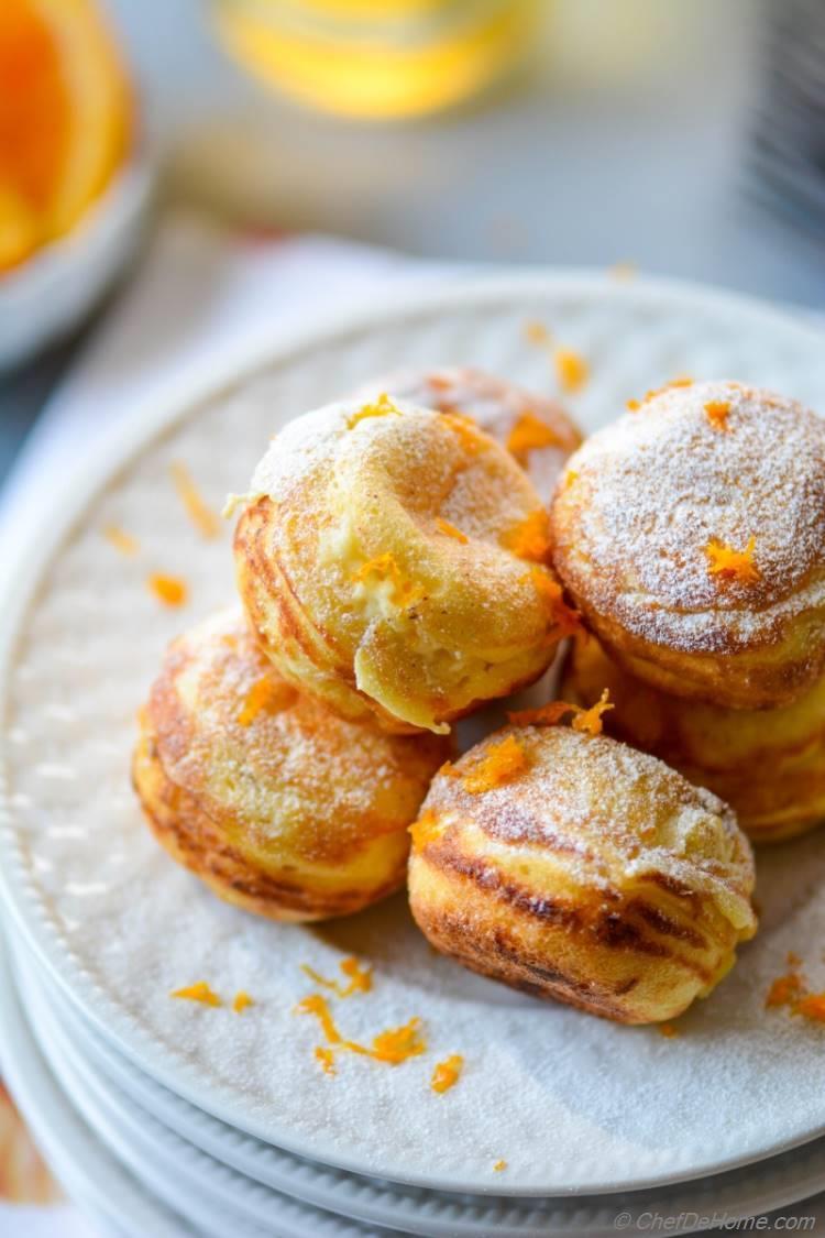 Scrumptious Orange-Cream Filled Ebelskivers. Enjoy for Breakfast or Dessert!