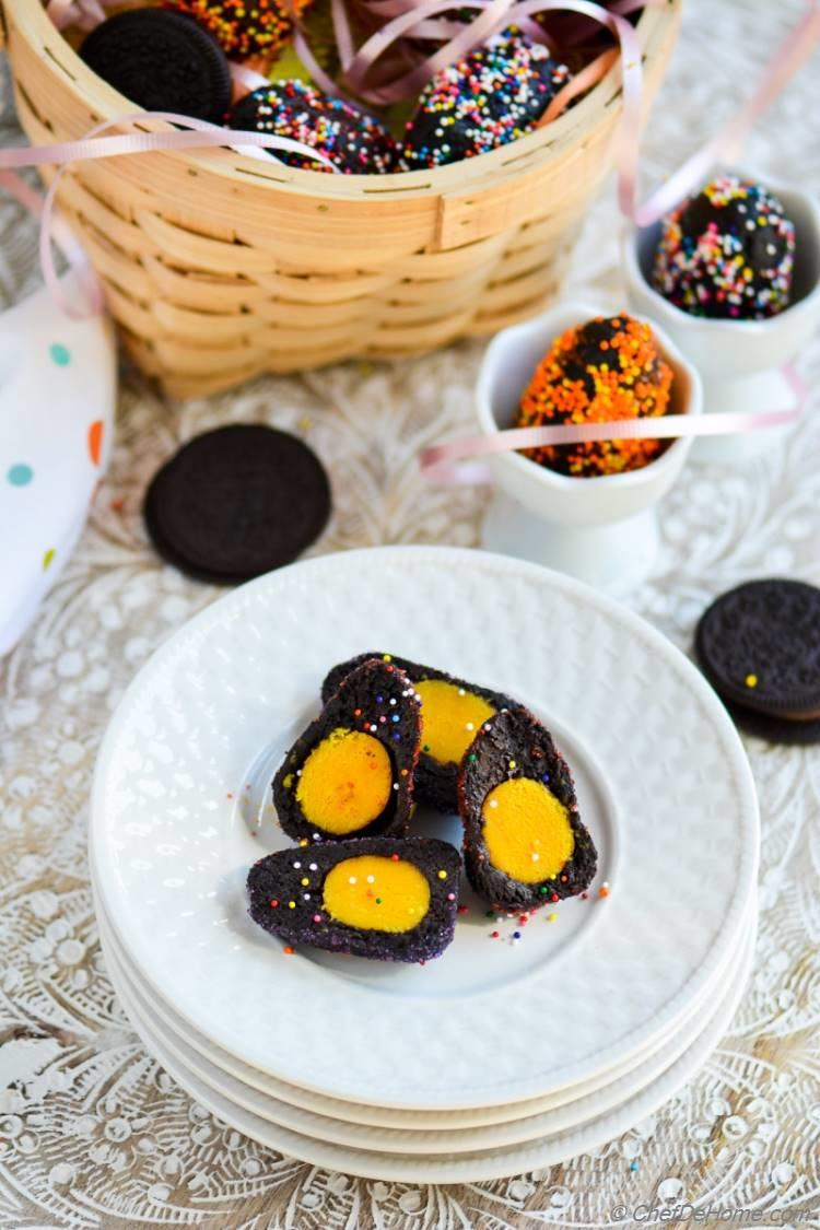 Oreo Cream Cheese #Easter Eggs with Yellow Yolk for a Sweet Treat for Kids