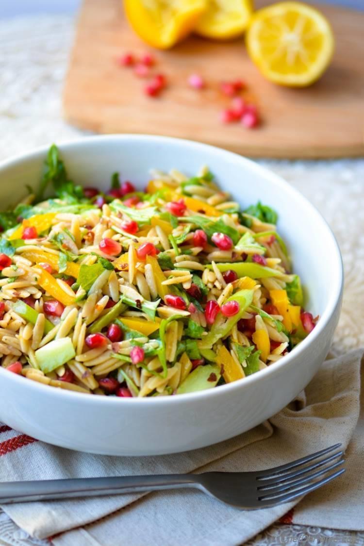 Go Green Vegan Orzo Pasta Salad with Arugula and Meyer Lemon