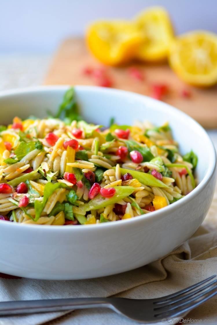 Healthy Vegan Whole Wheat Orzo and Arugula Salad