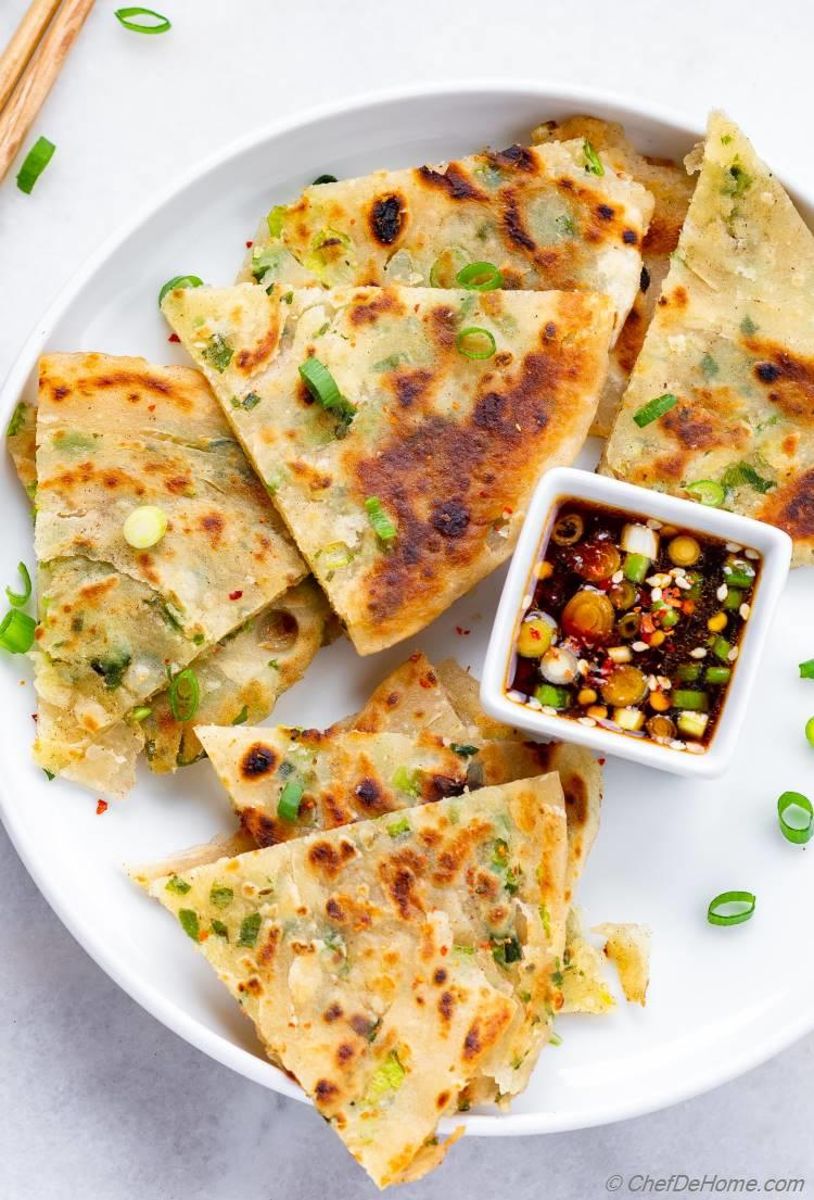 Green Onion Scallion Pancakes with Dipping Sauce