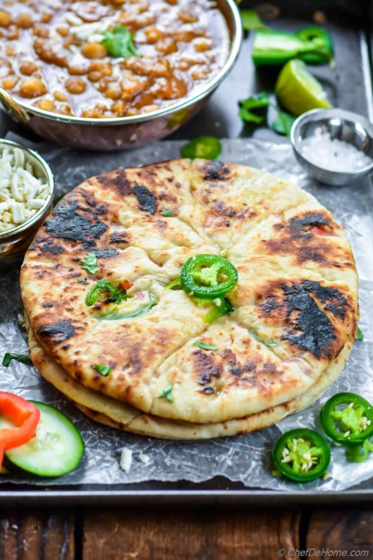 Indian Paneer Stuffed Naan | chefdehome.com