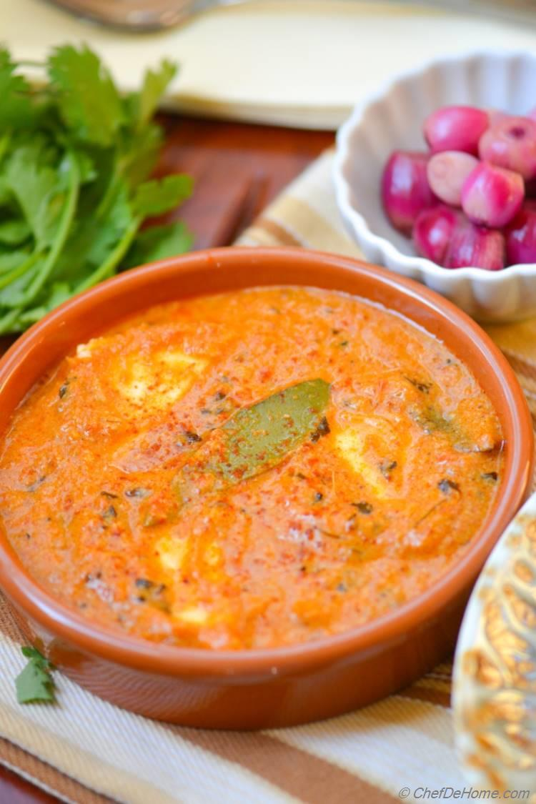 Indian Paneer Butter Masala Served with White Rice